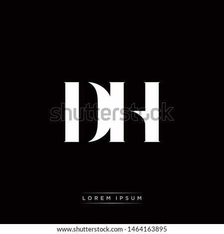 DH D H Logo Monogram with Black and White Colors Stock fotó ©