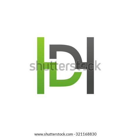 DH HD initial company H square shape logo green Stock fotó ©