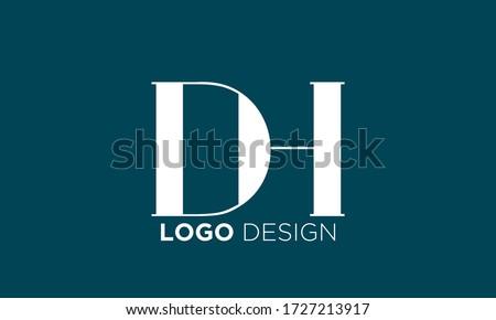 DH initial box letter logo template vector  Stock fotó ©