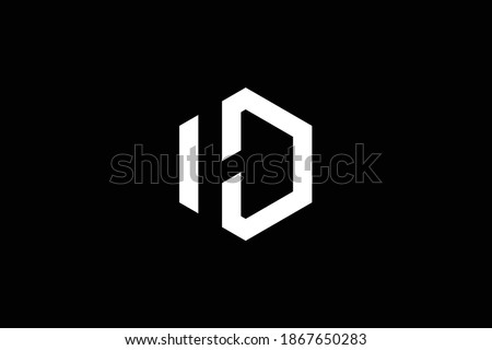 DH letter logo design on luxury background. HD monogram initials letter logo concept. DH icon design. HD elegant and Professional white color letter icon design on black background. D H Stock fotó ©