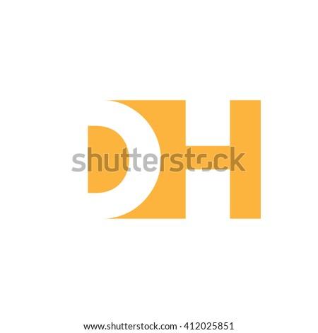 DH Logo. Vector Graphic Branding Letter Element. White Background Stock fotó ©