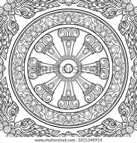 Dharma Wheel, Dharmachakra. Symbol of Buddha's teachings on the path to enlightenment, liberation from the karmic rebirth in samsara. Seamless pattern. EPS10 vector illustration