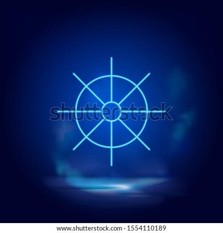 dharma wheel symbol neon icon