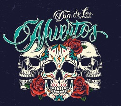 Dia De Los Muertos colorful concept with sugar skulls and rose flowers in vintage style on dark background isolated vector illustration