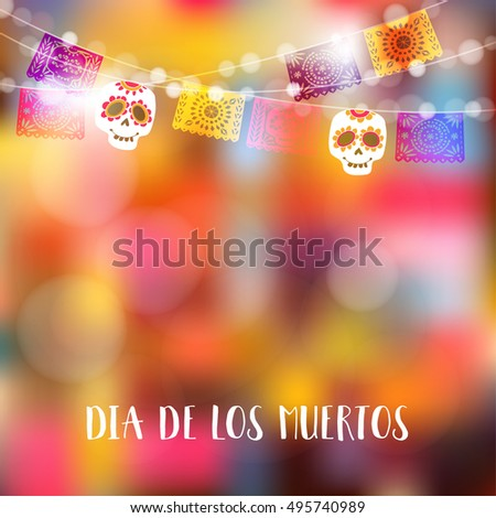 Shutterstock Dia de Los Muertos, Day of the Dead or Halloween card, invitation. Party decoration, string of lights, party flags with skulls. Vector illustration background