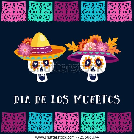 Shutterstock Dia de Los Muertos, Day of the Dead or Halloween greeting card, invitation. Party decoration with sugar skulls and handmade cut flags. Vector illustration background.