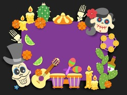 Dia de los muertos. Day of the Dead traditional mexican holiday flyer.Paper cut style flat decoration with shadow on black background. Vector illustration