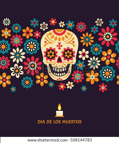 Shutterstock Dia de los muertos. Day of The Dead vector poster with smiling sugar festive skull, surrounded by colorful flowers, isolated on dark background.