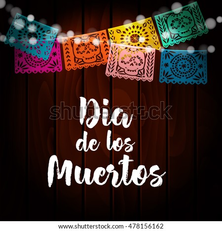 Shutterstock Dia de Los Muertos, Mexican Day of the Dead card, invitation. Party decoration, string of lights, handmade cut paper flags, skull, floral decor. Old wooden background. Vector illustration.