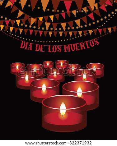 Dia de los Muertos - Mexican Day of the dead red candles and bunting background. EPS 10 vector illustration for holidays, religion, greeting card, advertising, social media, blog, marketing