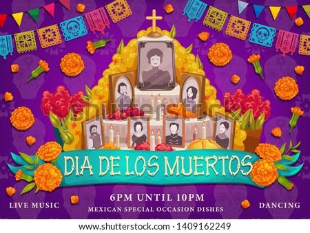 Dia de los Muertos or Day of Dead Mexican traditional holiday. Vector Dia de los Muertos ofrenda altar family photosin marigold flowers, cross and ritual pie with calavera skulls and paper flags