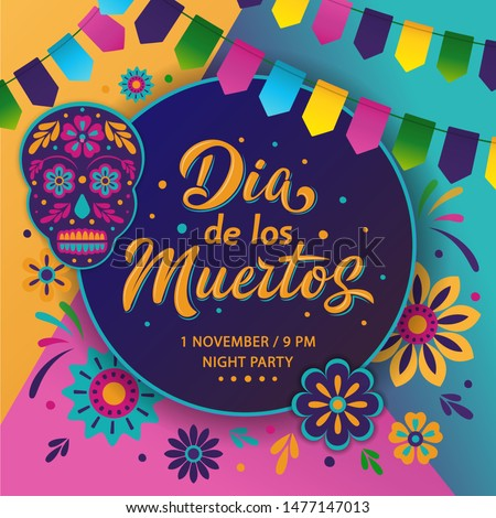 Dia de Los Muertos poster design. Mexican Day of the Dead inscription on dark background. Vector colorful template with festival fire, decorated skull, flowers, lettering sign and garland.