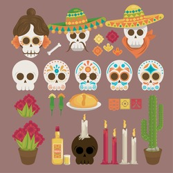 dia de los muertos poster with heads skulls and icons vector illustration design