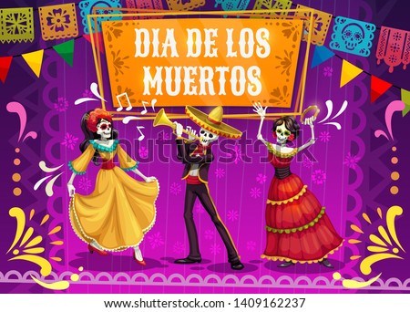 Dia de los Muertos skeletons and Catrina dancing on mexican holiday fiesta party in sombrero, suit and dress. Day of the Dead festival and Latin American religion carnival mariachi musicians. Vector