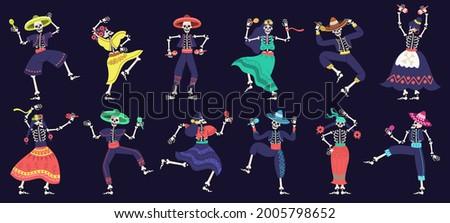 Dia de los muertos skeletons. Day of dead dancing skeletons party, mexican festival skeleton mascots vector illustration set. Dancing halloween holiday skeletons. Mexican skeleton holiday celebration