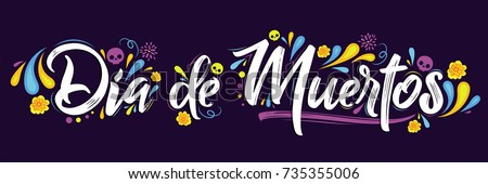Shutterstock Dia de Muertos, day of the Dead spanish text lettering vector illustration