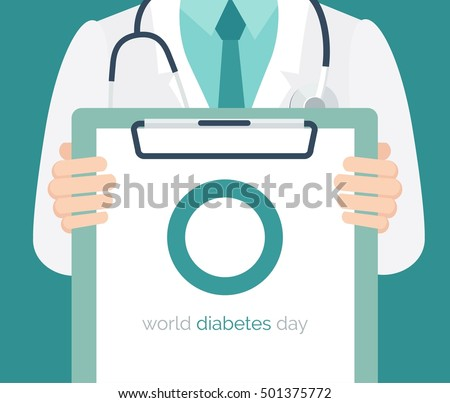 Diabetes day concept. Close-up of a male doctor with lab coat in his office holding a clipboard. Vector illustration