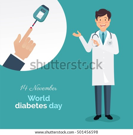 Diabetes day concept. World diabetes day banner with male doctor with lab coat showing how to measure diabetes. Vector illustration