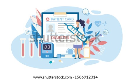 Diabetes Diagnosis and Control Therapy Medical Cutout Cartoon. Doctor Holding Huge Syringe with Insulin Standing over Patient Card and Blood Glucose Meter. Vector Trendy Flat Illustration