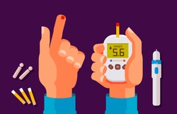 Diabetes, health concept. High blood sugar. Glucometer, glucose meter cartoon vector illustration