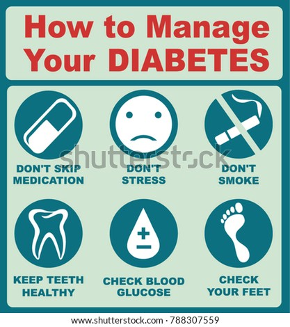 Diabetes infographics. How to manage your diabetes. Stock photo ©
