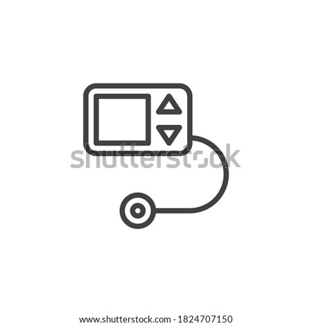 Diabetes pump line icon. linear style sign for mobile concept and web design. Insulin pump outline vector icon. Symbol, logo illustration. Vector graphics Stock photo ©