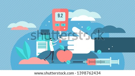 Diabetes vector illustration. Flat tiny high sugar level in blood persons concept. Illness treatment with insulin injection lifestyle. Problem awareness and checking equipment or diet control therapy.