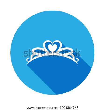 Diadem icon with long shadow. Diadem element icon with long shadow. Baby Sign, outline symbols collection icon with long shadow for websites, web design, mobile on white background on white background