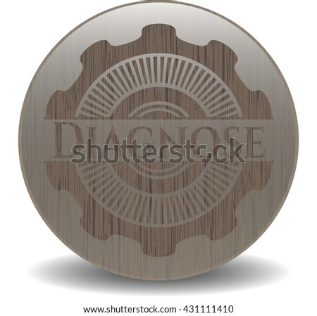 Diagnose vintage wooden emblem