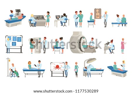 Diagnostic and treatment of cancer set, doctors, patients and equipment for oncology medicine vector Illustrations #1177530289