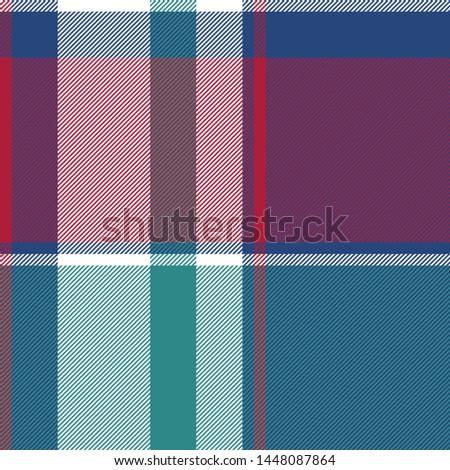 Diagonal check plaid seamless fabric texture. Vector illustration.