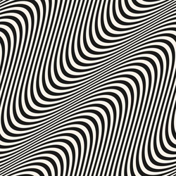 Diagonal curved wavy lines pattern. Vector seamless texture with black and white waves, stripes. Dynamical 3D effect, illusion of movement. Modern abstract monochrome background. Stylish repeat design