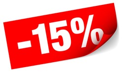 Diagonal Red Sticky Note Sale Minus Fifteen Percent