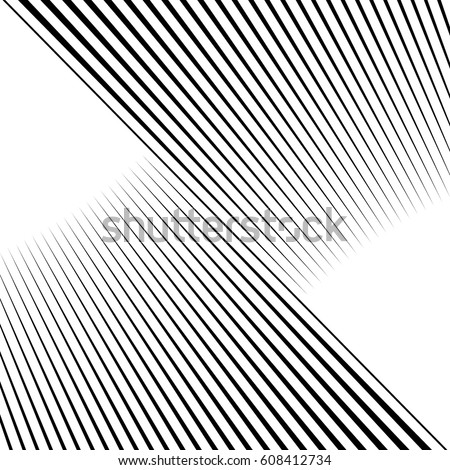 Diagonal striped illustration. Repeated black lines on white background. Surface pattern design with linear ornament. Disco lights motif. Stripes wallpaper. Digital paper for web designing. Vector art