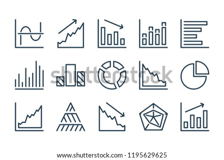 Diagram and data chart line icons. Vector icon set.