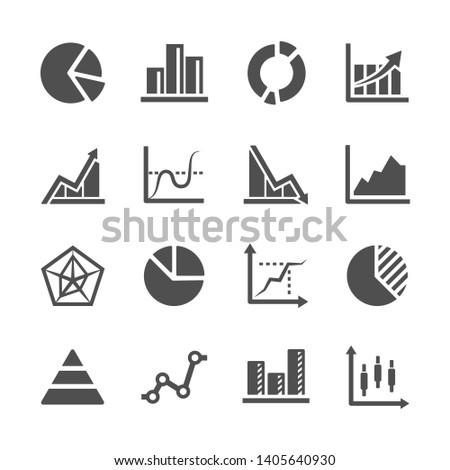 diagram and graph of data vector icon set ストックフォト ©