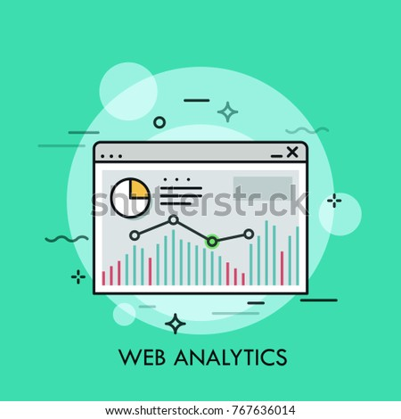 Diagram, bar chart and linear graph inside browser window. Concept of web analytics, internet tool for statistical analysis, online statistics. Colorful vector illustration for banner, website.