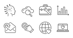 Diagram graph, International love and Tool case line icons set. Receive mail, Touchscreen gesture and Web love signs. Cloud computing, Artificial intelligence symbols. Quality line icons. Vector
