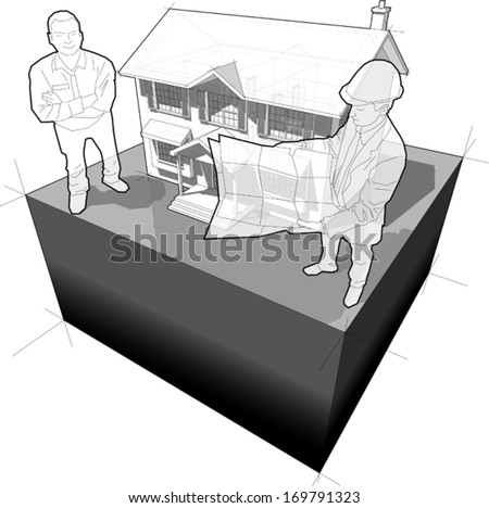 diagram of a classic colonial house and architect + happy smiling man standing in front of it (another house diagram from the collection, all have the same point of view/angle/perspective)