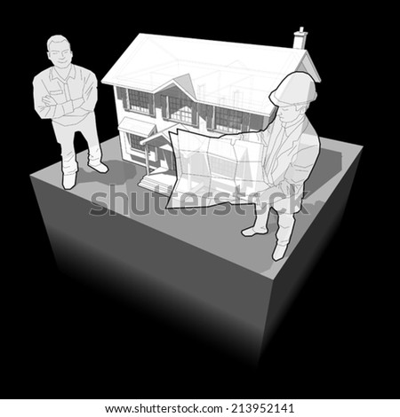 diagram of a classic colonial house and architect + happy smiling man standing in front of it