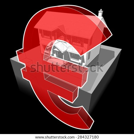 diagram of a classic colonial house and euro sign