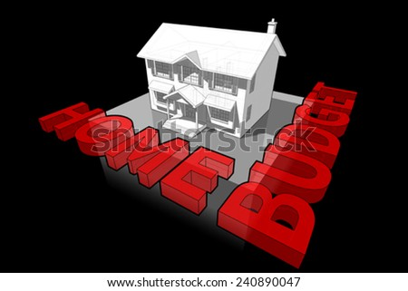 diagram of a classic colonial house and HOME BUDGET sign
