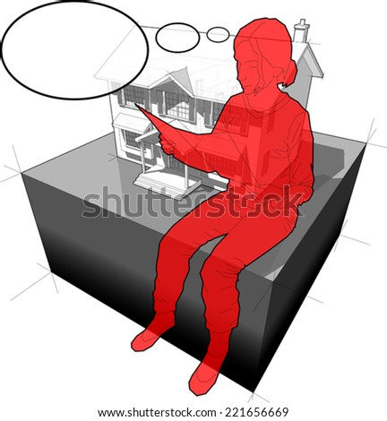 diagram of a classic colonial house and sitting woman reading paper in front of it, with comic thought bubble