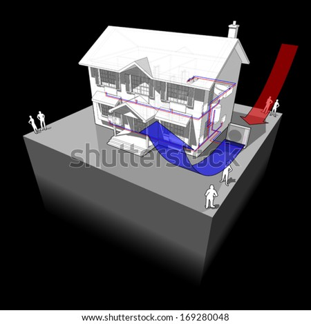 diagram of a classic colonial house with air-source heat pump as source of energy for heating  (another house diagram from the collection, all have the same point of view/angle/perspective)
