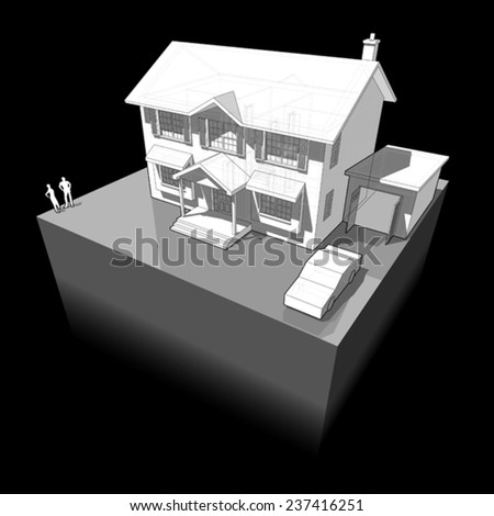 diagram of a classic colonial house with garage and car