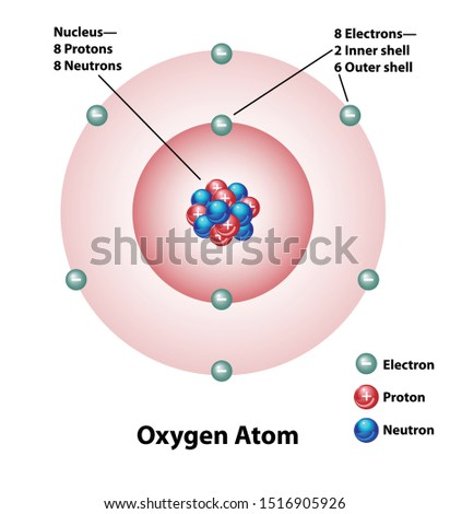 Diagram of an oxygen atom with nucleus and inner and outer shells. Protons and neutrons and electrons are labeled.