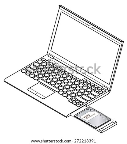 diagram showing installation / removal of a hard disk drive (hdd) on a  laptop