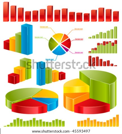 Diagrams â?? set of glossy vector icons for your business presentations and reports.