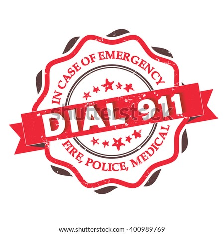 dial 911    grunge label stamp