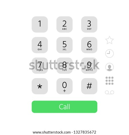 Dial keypad. Touchscreen phone number keyboard interface inspired by apple iphone ios dialer. Digital pad calling numbers, touchscreen keypad or smartphone screen flat vector illustration